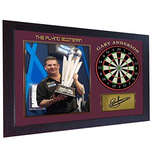 S&E DESING Gary Anderson Autogramm, The Flying Scotsman Signiertes Poster Foto Print Darts gerahmt -