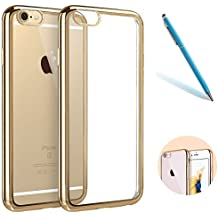 "iPhone 6sPlus Funda Hibrido, CLTPY iPhone 6Plus Plating Transparente Carcasa Suave Silicona Case Bumper Shock- Absorción y Anti-Arañazos para el 5.5"" Apple iPhone 6Plus/6sPlus (No iPhone 6/6s) + 1 x Aguja - Oro"