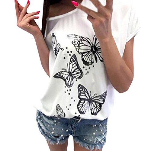 SEWORLD 2018 Damen Mode Sommer Frauen Schmetterlings Drucken T-Shirt Kurzarm Schulterfrei Tops Casual Bluse(Weiß,L)