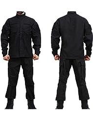 Noga camuflaje Suit Combat BDU–Uniforme militar Uniforme BDU–Traje de caza Plan parte Paintball Coat + Pants, schwarz - schwarz