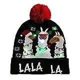 tackjoke Cappello Luminoso a LED, Sciarpa di Natale Luminosa con Nappa, Cappelli di Natale Morbidi in Peluche per Adulti e Bambini, Accessori per Decorazioni Natalizie Honest