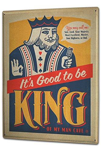 Cartel Letrero de Chapa XXL Diversíon Rey del naipe diciendo