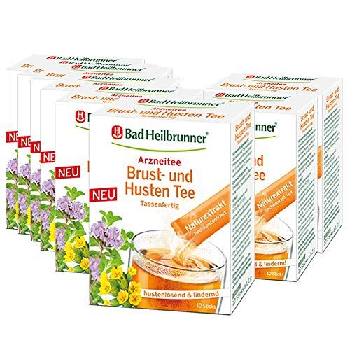 Bad Heilbrunner® Brust- und Husten Tee, 10 Sticks, 8er Pack