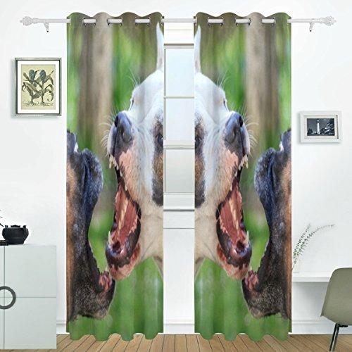 JSTEL Hund Vorhänge Panels Verdunklung Blackout Tülle Raumteiler für Terrasse Fenster Glas-Schiebetür Tür 139,7x 213,4cm, Set von 2 (Hund Terrasse Tür-panel)