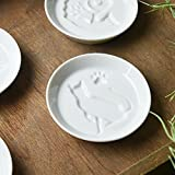 [2 Plates set] Yamani Pottery Shadow Picture Cat White Small plates for Soy Sauce,Food etc... 26233 from Japan