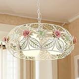 SED Im europäischen Stil Garten Stil Eisen Blumen Runde Blumen kronleuchter Wohnzimmer esszimmer mit Licht Dekoration kronleuchter