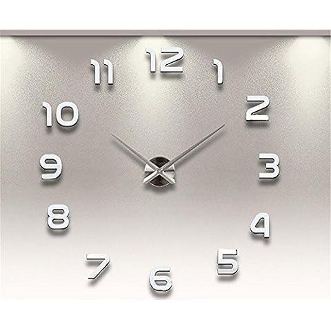 GYN Moda creativa 3D grandi dimensioni acrilico specchio DIY Orologio minimalista Sticker Orologio artistico soggiorno camera da letto TV sfondo decorazione , silver - Primo Anno Sticker Calendario