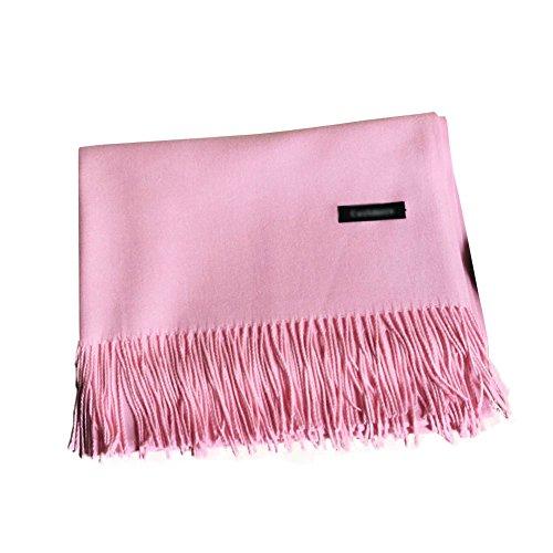 SaiDeng Femme Écharpe En Laine Acrylique Foulard Long Avec Frange Châle Chaude Vogue En Automne/Hiver Souple Confortable Léger pink