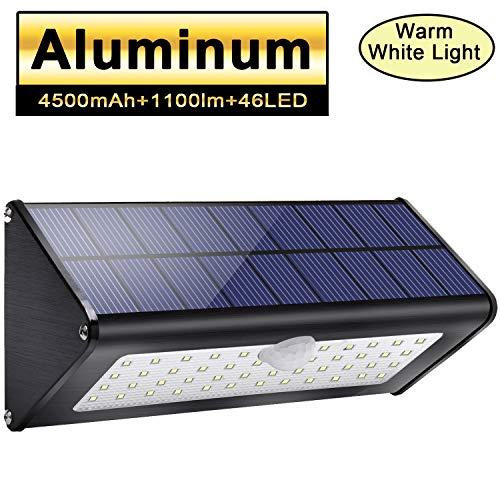 Licwshi 1100lm solare esterno luci 4500mAh nero in lega di alluminio 120 ° sensore di movimento a infrarossi, impermeabile IP65 senza fili di sicurezza con 4 modalità per giardino - luce bianca calda