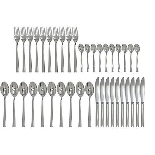 COM-FOUR® 40-teiliges Besteckset aus rostfreiem Edelstahl mit Messern, Gabeln, Suppenlöffeln und Teelöffeln für 10 Personen (Set04-40-teilig) Besteck 10