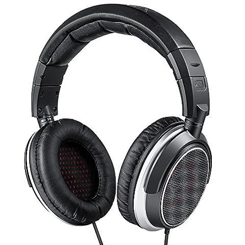 AudioMX HS-5S Casque DJ Filaire de Monitoring et Studio Circum-Aural avec Cordon de 3m, Acoustique Ouvert, Coussinets Remplaçable, Adaptateur 1/4