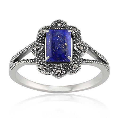 Gemondo Sterlingsilber 0,9ct Lapislazuli & 8.8pt Markasit Art Deco-Stil Ring