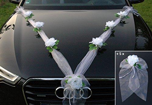 ORGANZA M + SCHLEIFE Auto Schmuck Braut Paar Rose Deko Dekoration Autoschmuck Hochzeit Car Auto Wedding Deko Ratan Girlande PKW … (Reinweiß Weiß)