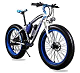 Elektrische Fahrräder Herren Cruiser Fat Fahrrad teilig 350W * 36V * 10.4Ah Fat Tire 66cm * 4.021speed Shimano dearilleur Germany BMZ Akku blau
