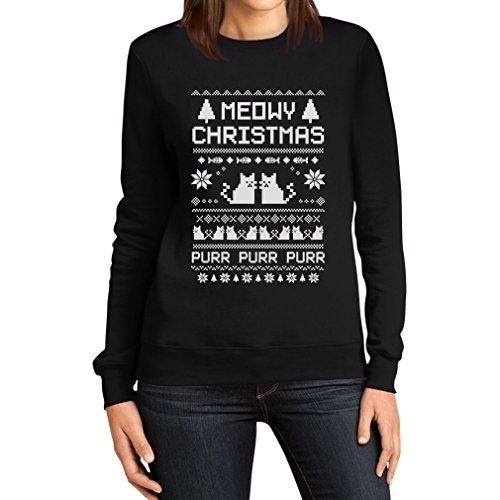 Meowy christmas sweat-shirt pour femme motif chatons-süsse weihnatchspullover Noir - Noir