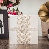 wishmade Gold Folie Laser geschnitten Einladungen Kit mit Schleife mit Antwortkarten Thank You Karte für Hochzeit Party Geburtstag Anlass cw6111 gold