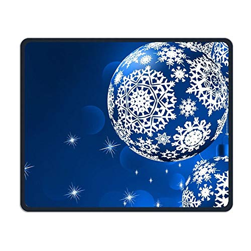 ASKSSD Mouse Pad Snowflake Stars Blue Balls Rectangle Non-Slip 9.8in11.8 In Unique Designs Gaming Rubber Mousepad Stitched Edges Mouse Mat (Ga Pflege)