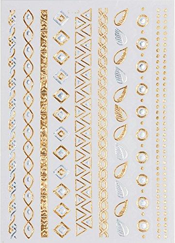 Golden Metallic Gold Temporäre Körperkunst Entfernbare Tattoo Aufkleber ZCP033 - ZCP033 Sticker Tattoo Temporary Tattoo - FashionLife