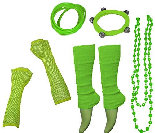 Sport Kostüm Accessoires - A-Express 80er Damen Neon Beinstulpen Handschuhe Halskette Shamballa Tüll Fluo Ballett Verkleidung Party Tutu Kostüm Set