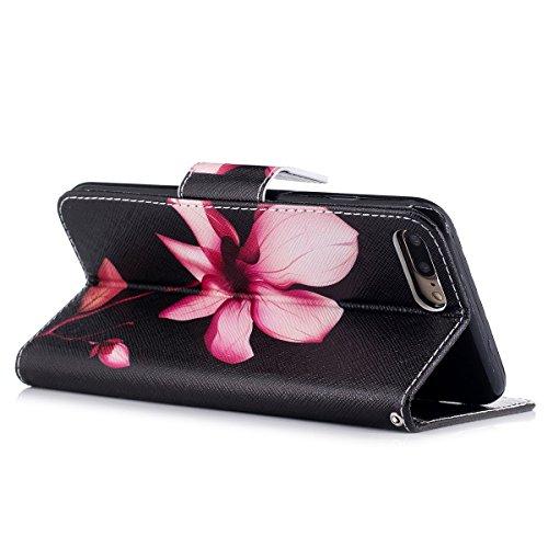 "MOONCASE iPhone 7 Plus Coque, [Colorful Painting] Durable TPU avec Béquille Etui Case Protection PU Cuir Card Holster Housse pour iPhone 7 Plus 5.5"" Bling Lotus"