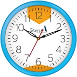 [Sponsored]Story@home 10-inchRound Shape Wall Clock With Glass For Home / Kitchen / Living Room / Bedroom (Light Blue Frame)