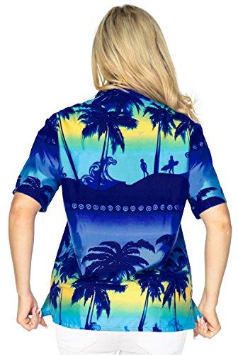 Taste nach unten Bluse oben Hawaii-Hemd mit kurzen �rmeln Kragen Bademoden Damen verschleiern Blau