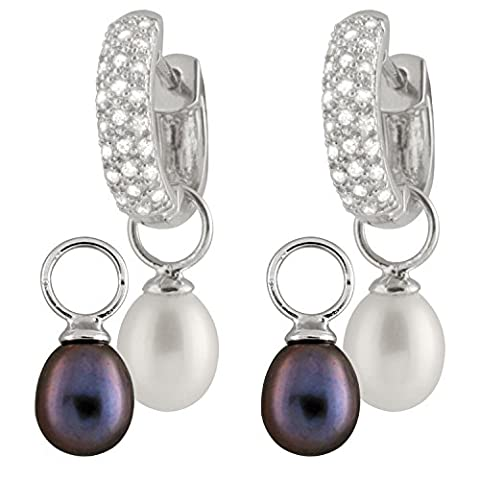 Bella Pearls Cubic Zirconia 3-in-1 Changeable White and Black Freshwater Pearls with Sterling Silver Hoop Earrings
