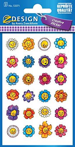Avery 53,371 Deko, Flor Caras, material de papel, 3 hojas, 72 Etiqueta