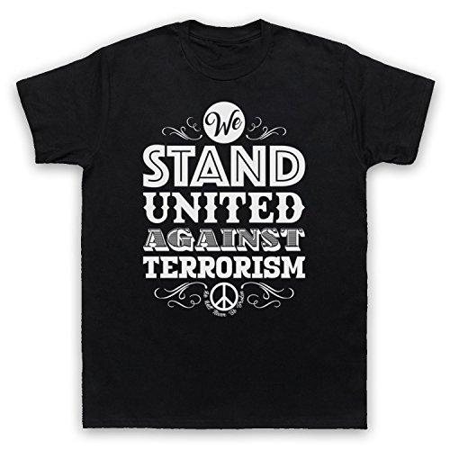 We Stand United Against Terror We Will Never Be Broken Herren T-Shirt Schwarz