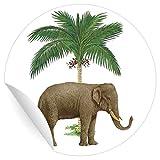 24 klassische Glücks Aufkleber | Sticker mit Elefant unter Palme, MATTE universal Papieraufkleber für Geschenke, Etiketten für Tischdeko, Pakete, Briefe und mehr (ø 45mm