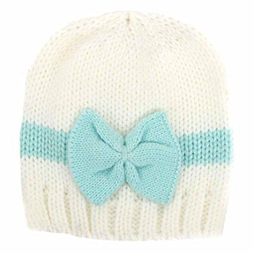 Tefamore Bebé recién nacido Niña Chico Infantil Lana de punto para niños pequeños Sombrero de ganchillo Tapa blanda (Azul claro)