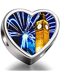 Rarelove Sterling Silver London big ben New Year fireworks heart photo charm beads