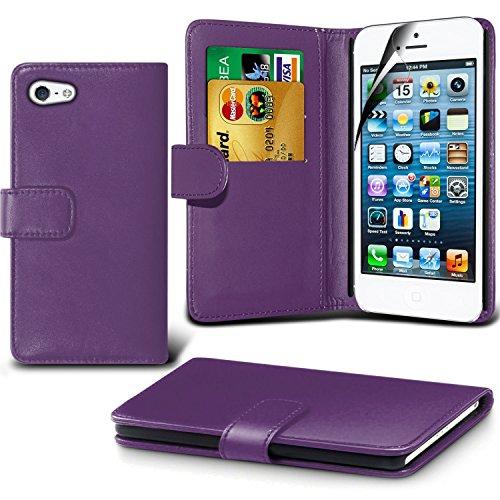iPhone 5/5S Fall, DN® Hohe Qualität Apple iphone 5/5s Leder Fall 2012Modell [10,2cm Zoll Display] iPhone 5/5S, Premium Leder Wallet [mit Kartenhalter] Schutzhülle für Apple iPhone 5/5S [kompatibel m violett