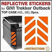 2pcs RIFRANGENTI ADESIVI Compatible con GIVI Baúl Trekker Outback Monokey, Aluminio Top Case 37 42 48 L (Naranja)