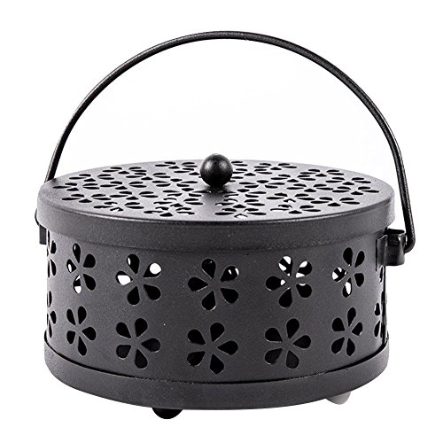 Gereton Mückenschutz Box, Metall Hohl Floral Mosquito Coil Halter Fall Garden Brenner insektenabweisend/Aromatherapie Box mit Griff, Schwarz, -