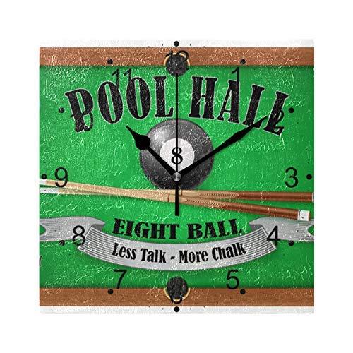 AmyyEden Billard Poster Pool Hall Eight Ball Holz Wanduhr 30,5 cm quadratisch Deko Uhr für Home Office - Bilder Hall Pool