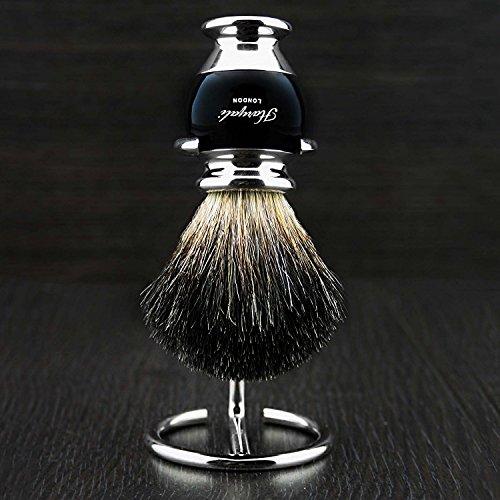Haryali main monté Sophist Collection Black Blaireau cheveux blaireau avec Allemand fil d'acier inoxydable Support.
