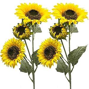 Aisamco Paquete de 3 Artificial Girasol Flocado Flores Artificiales de Govine 3 Tallos en 30 'Arreglo Floral Alto para…