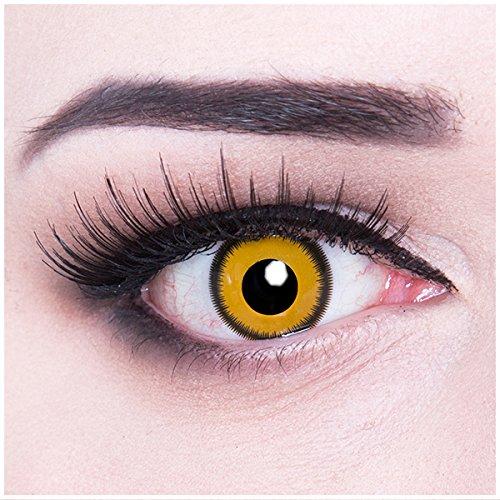 Meralens gelbe Kontaktlinsen, Lunatic Sun mit Pflegemittel ohne Stärke, 1er Pack (1 x 2 Stück) (Augen Des Himmels Kostüme)