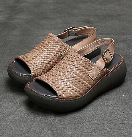 LIXIONG Portable Sandales à talons élastiques en coton épais Sandales à talons étanches Chaussures à talons hauts -Chaussures de mode ( Couleur : Beige , taille : 3 UK/35 EU/L:210MM )