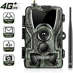 SunTek 4G 3G 2G gsm Cámara de Caza 16MP 1080P HD Trail Cámara con 42 pz IR LED para Visión Nocturna, IP65 Resistente a Agua con 0.3s de Tiempo de Activación, 801LTE