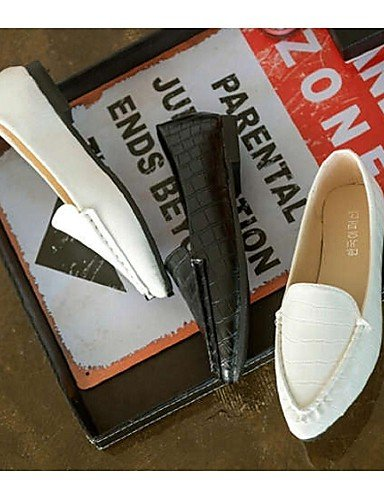 ZQ Scarpe Donna - Mocassini - Casual - A punta - Piatto - Finta pelle - Nero / Bianco , white-us8 / eu39 / uk6 / cn39 , white-us8 / eu39 / uk6 / cn39 white-us6.5-7 / eu37 / uk4.5-5 / cn37
