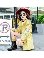 Las niñas ZYTAN Abrigo de primavera y otoño, primavera y otoño abrigo, casual, cremallera largo apartado,Amarillo,130cm.