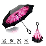 #8: ShoppoZone Inverted Umbrella,Double Layer Reverse Umbrella for Car and Outdoor Use by, Windproof UV Protection Big Straight Umbrella With C-Shaped Handle