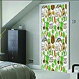 baiyinlongshop Kreative 3D Tür Aufkleber Magische Elemente Leinwand Bilder Moderne DIY Dekoration PVC Selbstklebende wasserdichte Tapete 95 * 215 cm