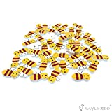 RayLineDo® Pack of 20G About 50pcs Buttons- Mixed Colours of Various Bees Style Delicate Wood Buttons DIY Buttons for Sewing and Crafting 1XPack