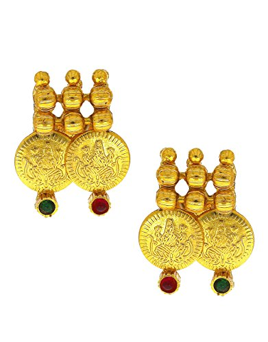 Anuradha Art Golden Colour Styled With Studded Green-Red Colour Stone Coin Styled Traditional Stud Earrings For Women/Girls  available at amazon for Rs.125