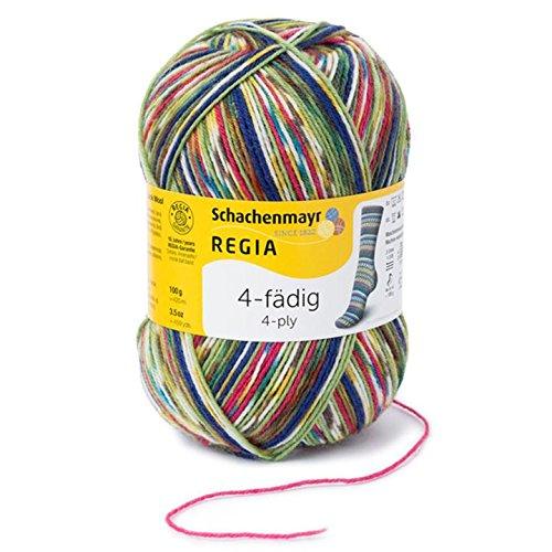 REGIA 4-fädig Color 9801269-09386 tropical Handstrickgarn, Sockengarn, 100g Knäuel (Stricken Wolle Streifen)