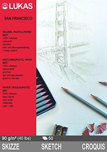 Lukas SKIZZENPAPIER / PASTELLPAPIER 'SAN FRANCISCO' DIN-A2 - 42x59,4 cm (16x23''), Doppelpack: 100...