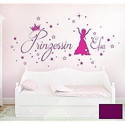 ilka parey wandtattoo-welt Graz Design Sticker Mural décoratif de Protection Princesse étoiles Reine des Neiges avec prénom prénom personnalisé m1687 M - 70cm breit x 36cm Hoch Violet